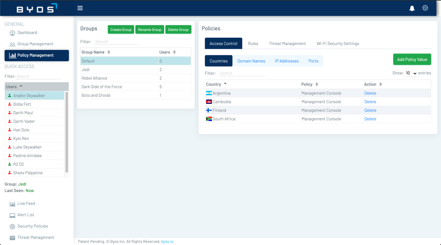The Management Consoles Policy Management tab allows for security policy customization based on Groups. Security policy options include: Access Control, Rules, Threat Management, and Wi-Fi Security Settings. This screenshot shows the Country block Access Control feature.