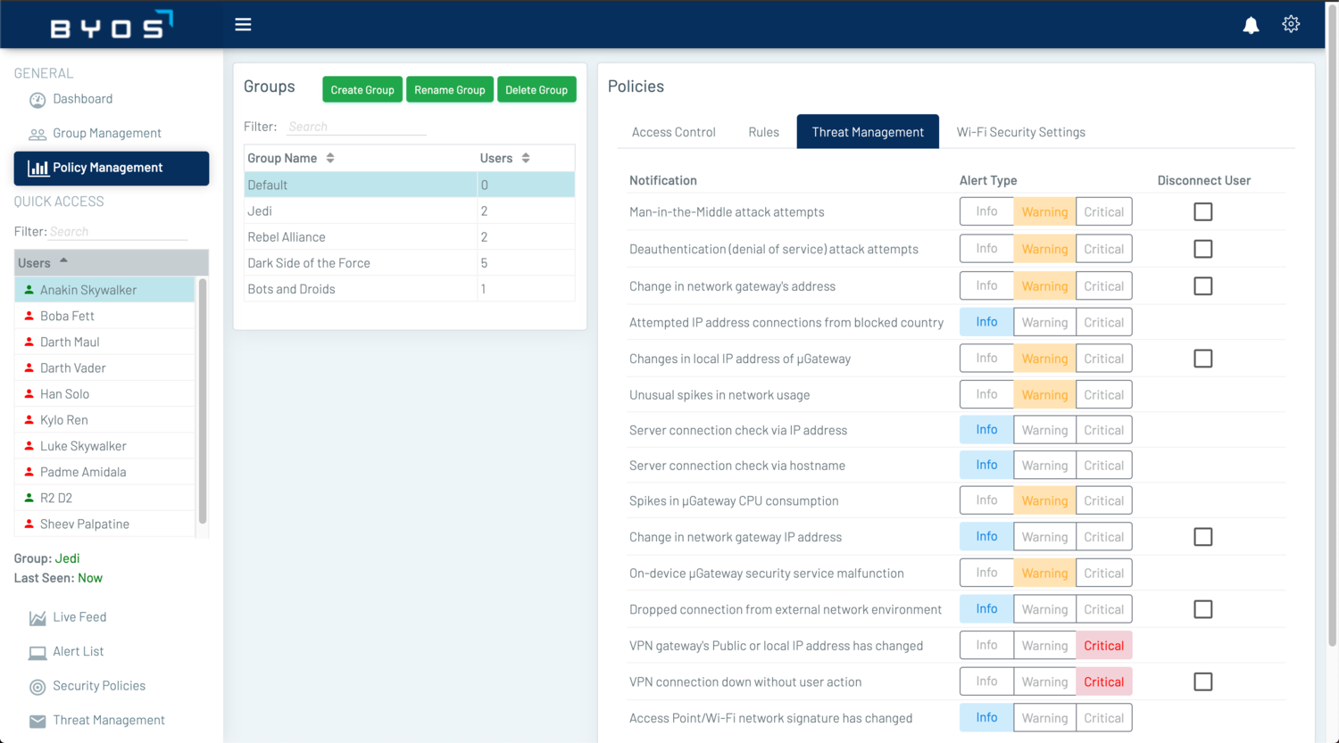 The Threat Management feature within Policy Management tab allows Admistrators to set the alert notification types based on the different threats and alerts.
