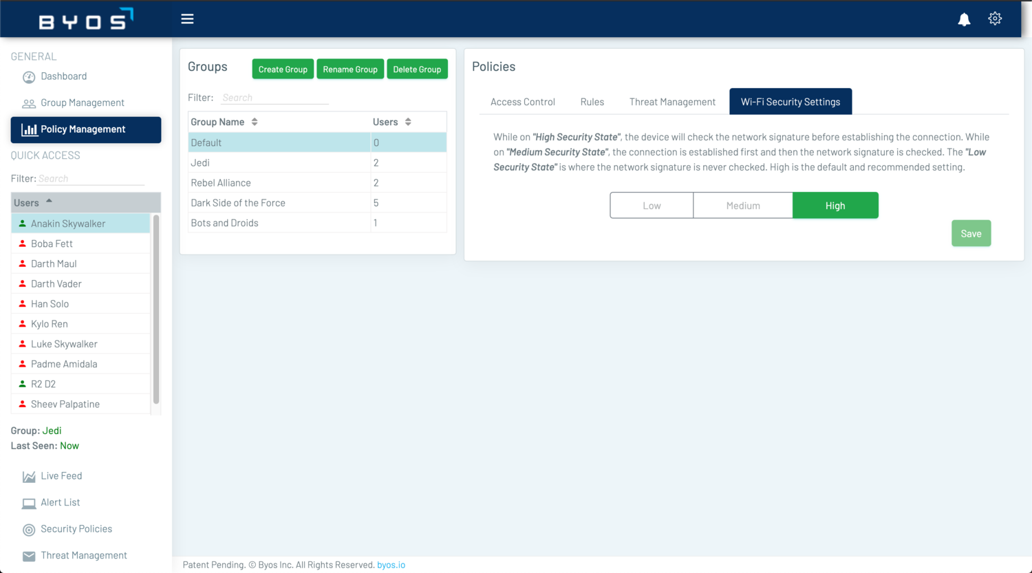 The Policy Management's Wi-Fi Security Settings feature allows the Administrator to select different levels of security during the µGateway's connection process.